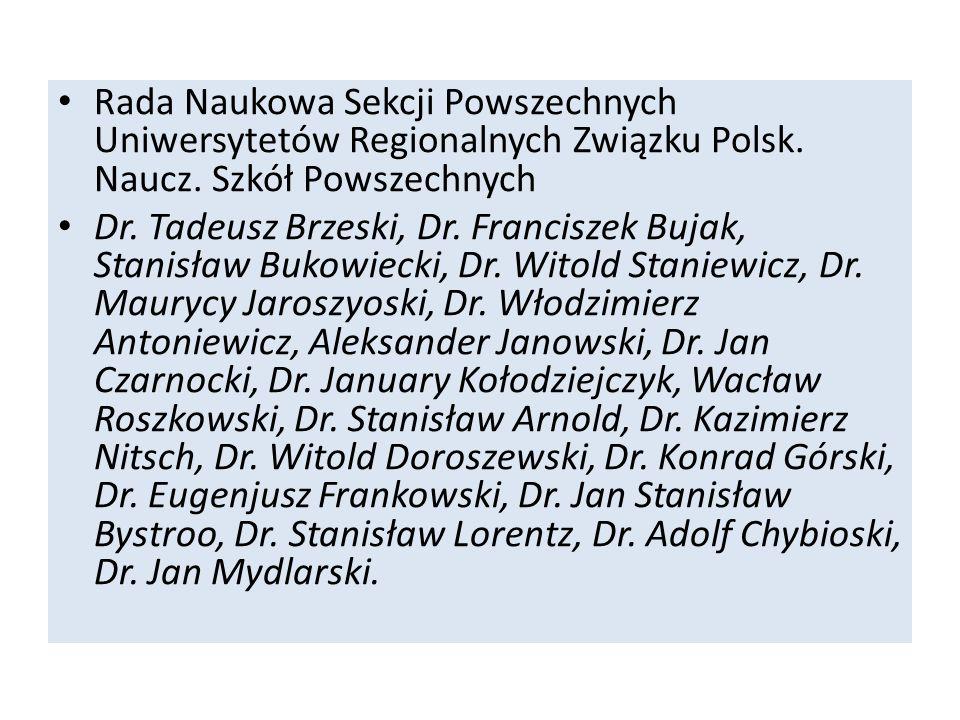Rada Naukowa Sekcji Powszechnych Uniwersytetów Regionalnych Związku Polsk. Naucz. Szkół Powszechnych