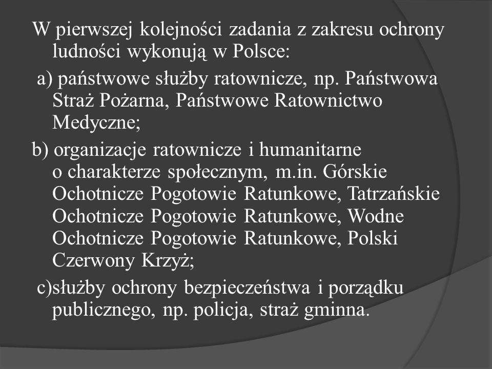 W pierwszej kolejności zadania z zakresu ochrony ludności wykonują w Polsce: a) państwowe służby ratownicze, np.