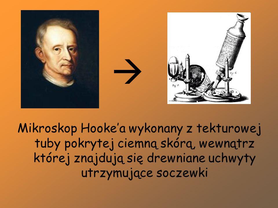  Mikroskop Hooke'a wykonany z tekturowej tuby pokrytej ciemną skórą, wewnątrz której znajdują się drewniane uchwyty utrzymujące soczewki.