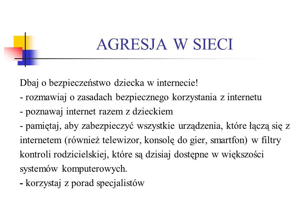 AGRESJA W SIECI Dbaj o bezpieczeństwo dziecka w internecie!