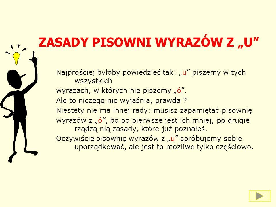 """ZASADY PISOWNI WYRAZÓW Z """"U"""