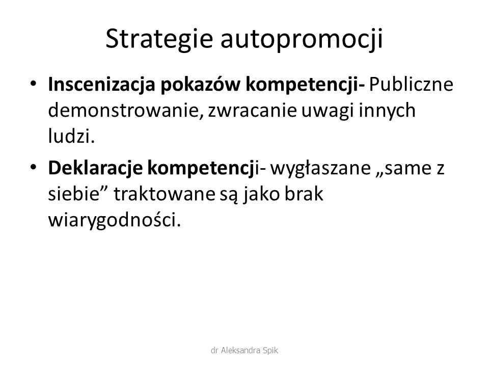 Strategie autopromocji