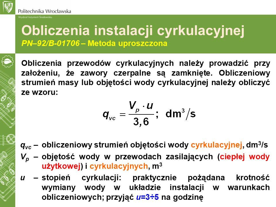 Obliczenia instalacji cyrkulacyjnej PN–92/B-01706 – Metoda uproszczona