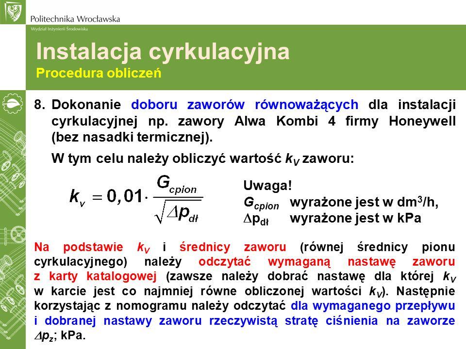 Instalacja cyrkulacyjna Procedura obliczeń