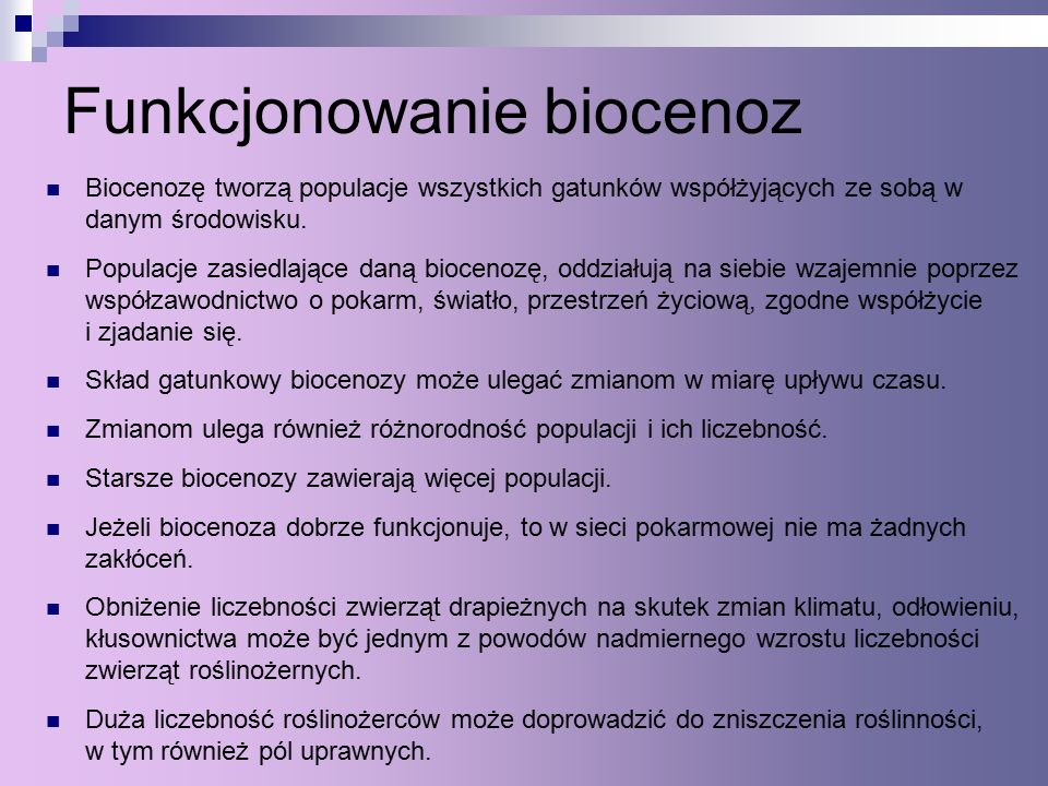Funkcjonowanie biocenoz