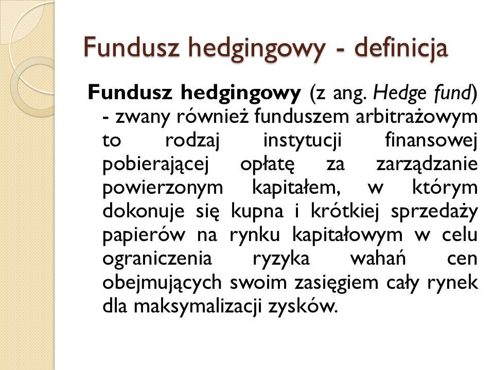 Fundusz hedgingowy - definicja