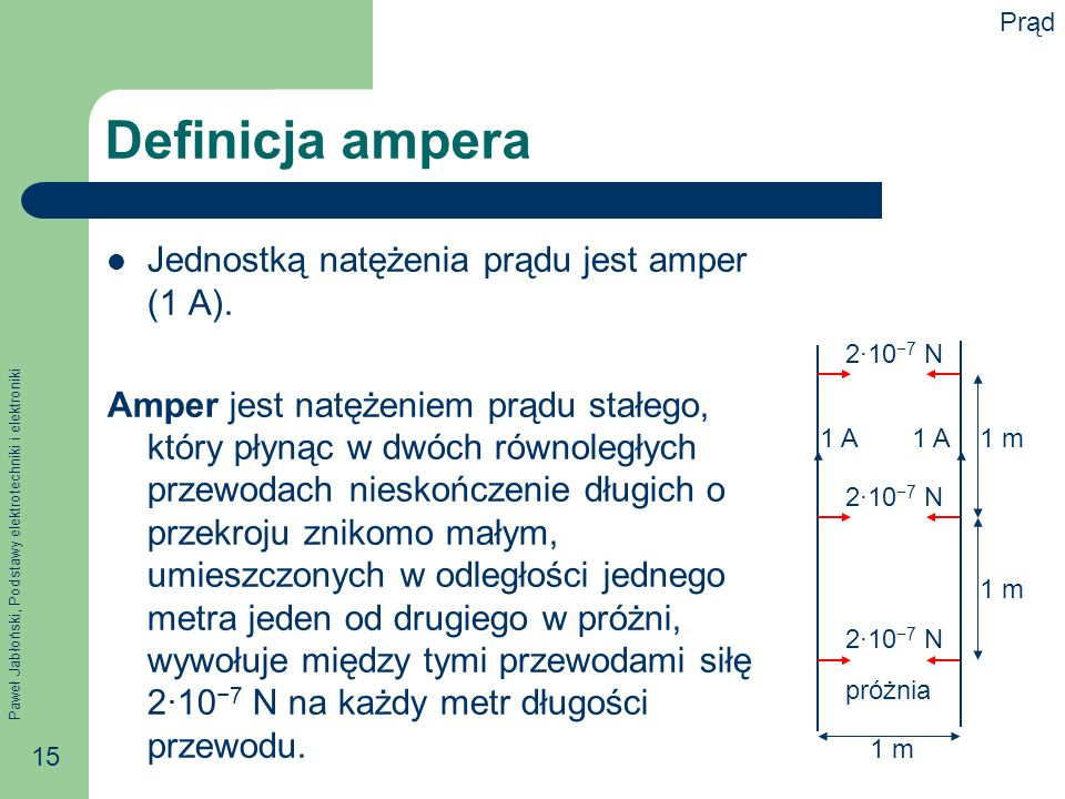 Definicja ampera Jednostką natężenia prądu jest amper (1 A).