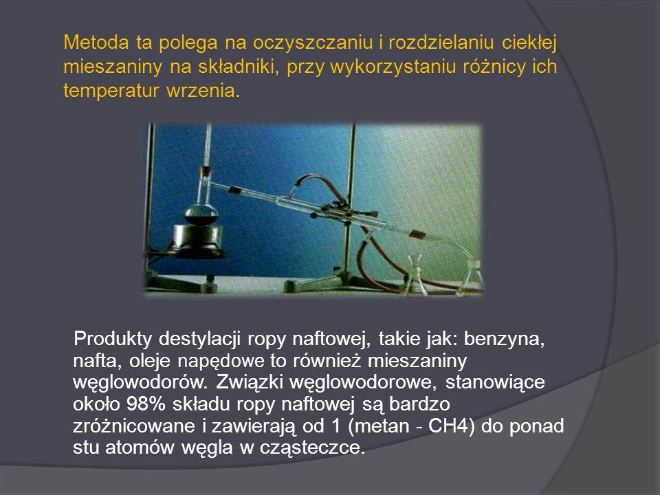Metoda ta polega na oczyszczaniu i rozdzielaniu ciekłej mieszaniny na składniki, przy wykorzystaniu różnicy ich temperatur wrzenia.