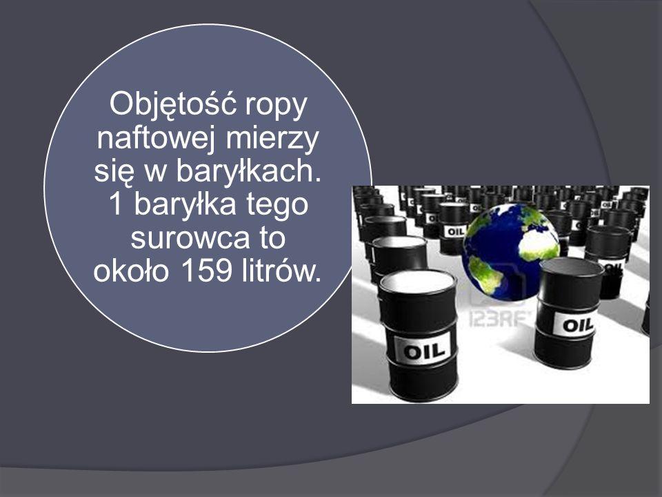 Objętość ropy naftowej mierzy się w baryłkach