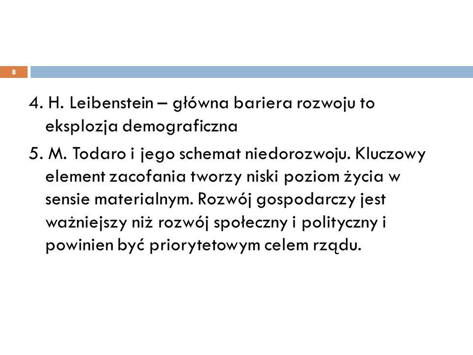 4. H. Leibenstein – główna bariera rozwoju to eksplozja demograficzna