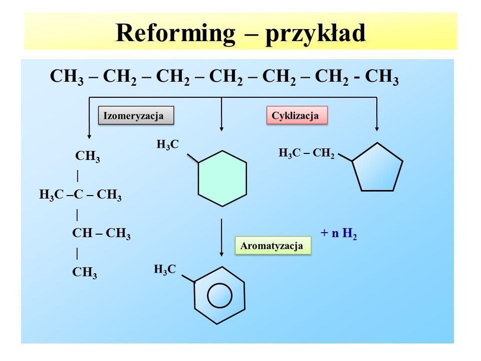 Reforming – przykład CH3 – CH2 – CH2 – CH2 – CH2 – CH2 - CH3 CH3 |