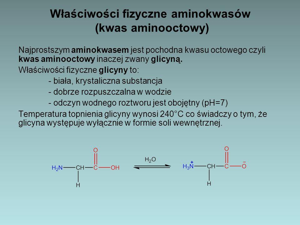 Właściwości fizyczne aminokwasów (kwas aminooctowy)