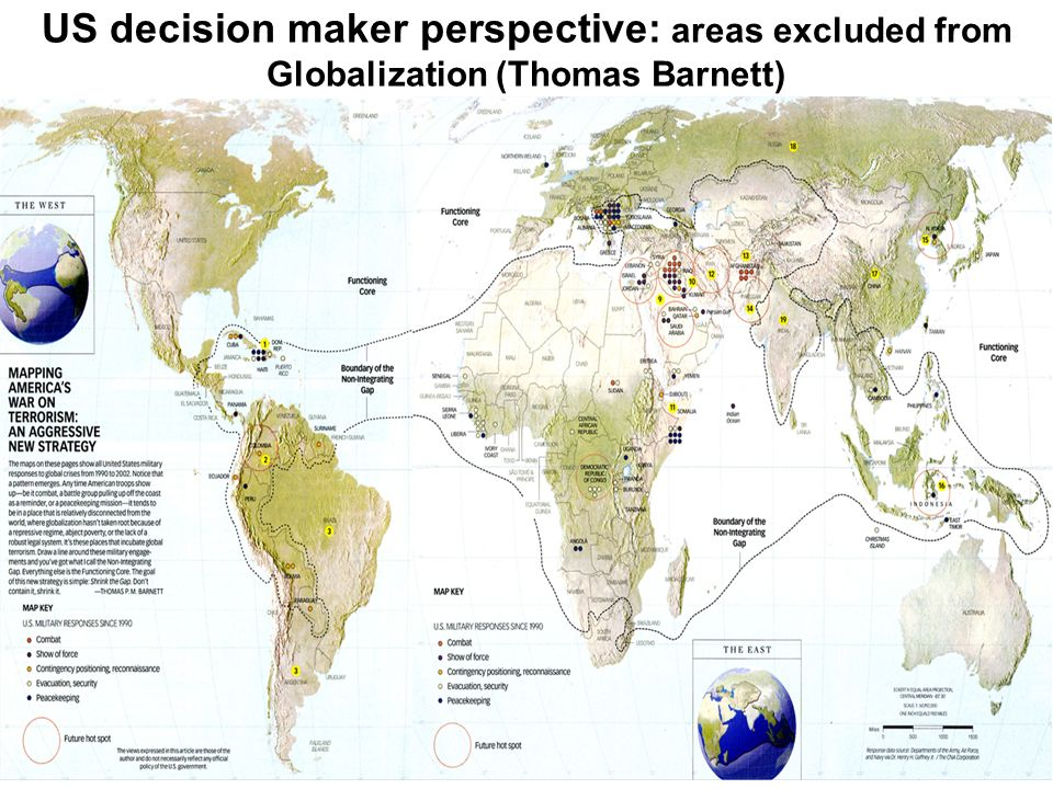 US decision maker perspective: areas excluded from Globalization (Thomas Barnett)