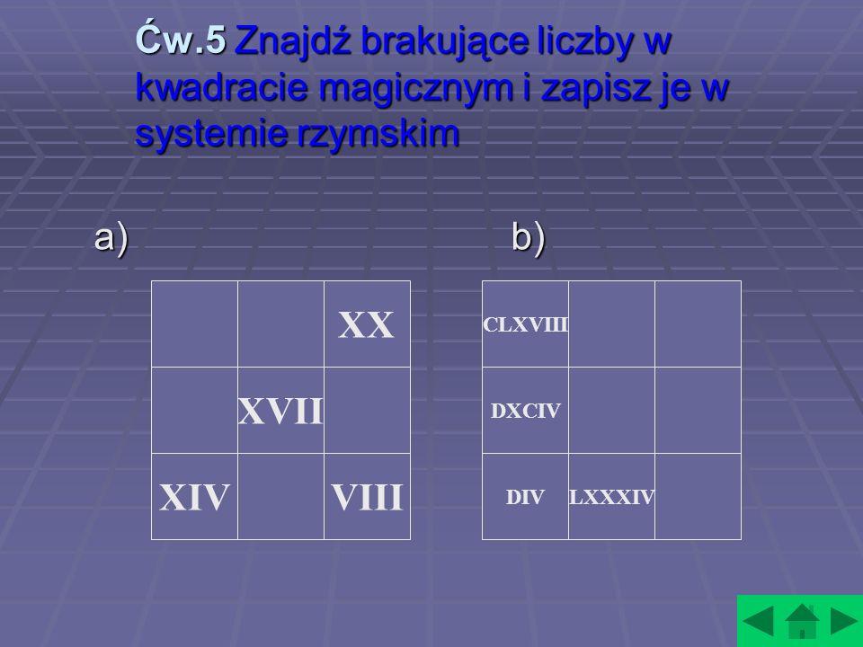 Ćw.5 Znajdź brakujące liczby w kwadracie magicznym i zapisz je w systemie rzymskim