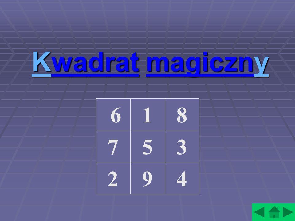 Kwadrat magiczny 6 1 8 7 5 3 2 9 4