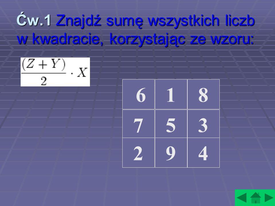 Ćw.1 Znajdź sumę wszystkich liczb w kwadracie, korzystając ze wzoru: