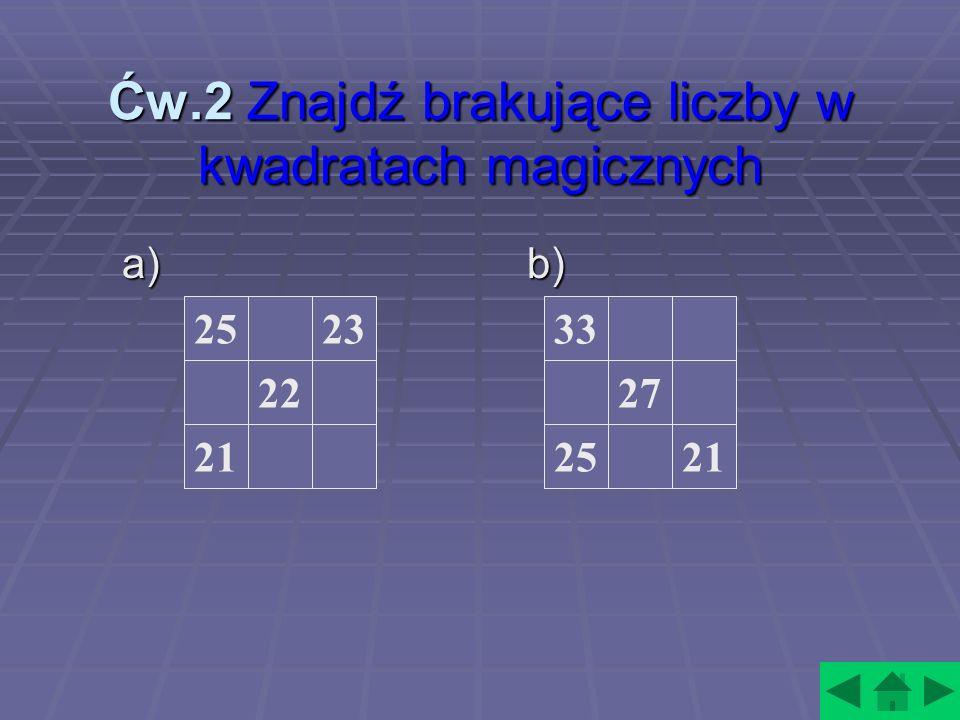 Ćw.2 Znajdź brakujące liczby w kwadratach magicznych