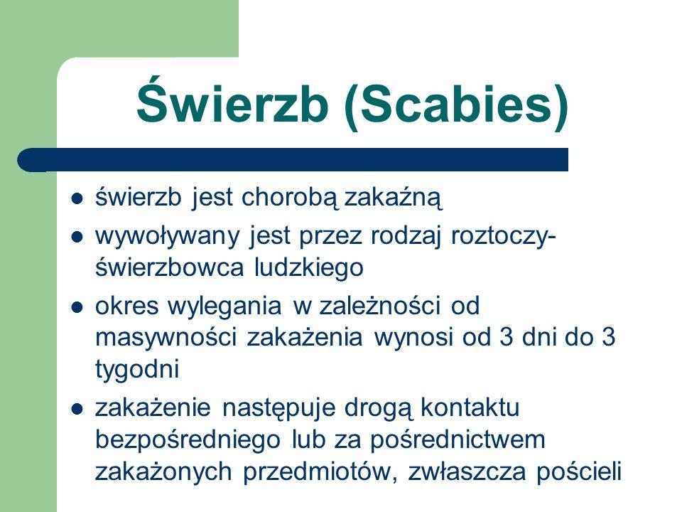 Świerzb (Scabies) świerzb jest chorobą zakaźną