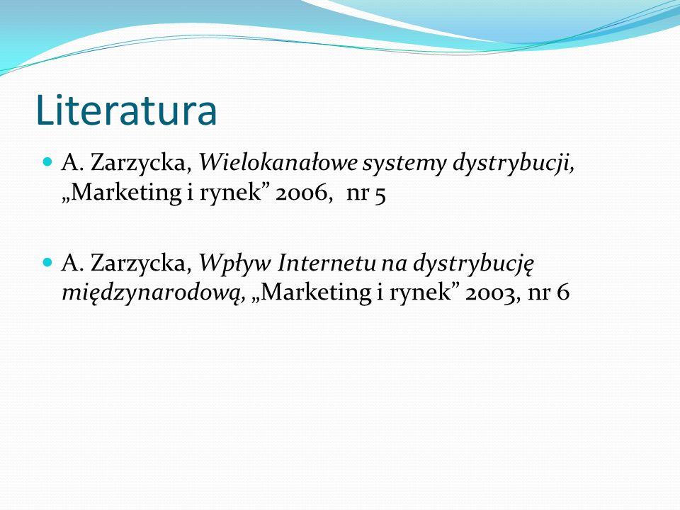 """Literatura A. Zarzycka, Wielokanałowe systemy dystrybucji, """"Marketing i rynek 2006, nr 5."""