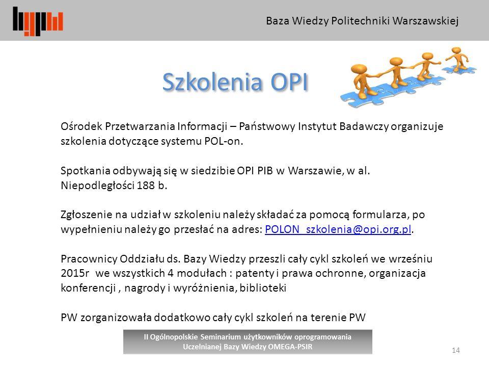 Szkolenia OPI Baza Wiedzy Politechniki Warszawskiej
