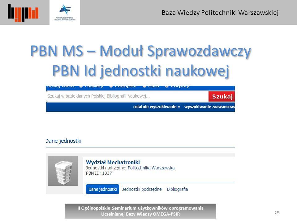 PBN MS – Moduł Sprawozdawczy PBN Id jednostki naukowej
