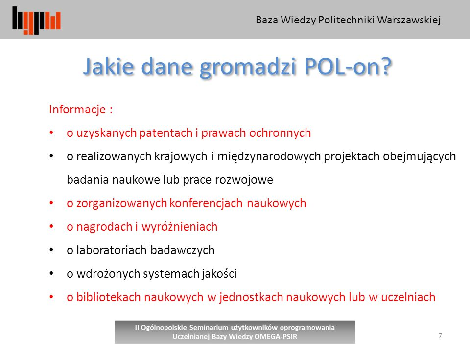 Jakie dane gromadzi POL-on