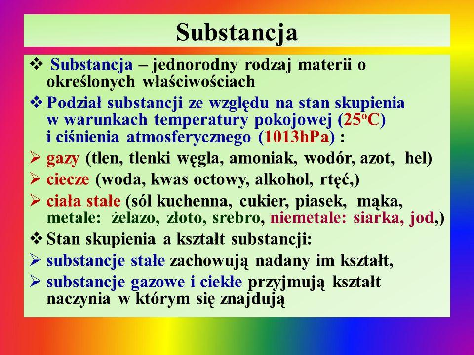 Substancja Substancja – jednorodny rodzaj materii o określonych właściwościach.