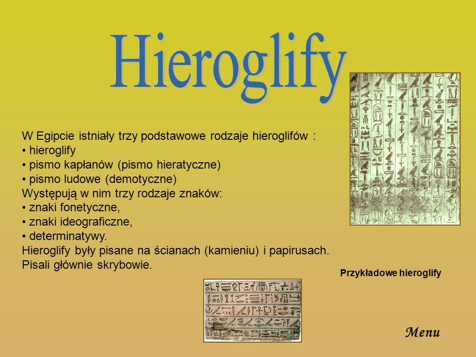 Hieroglify W Egipcie istniały trzy podstawowe rodzaje hieroglifów : hieroglify. pismo kapłanów (pismo hieratyczne)