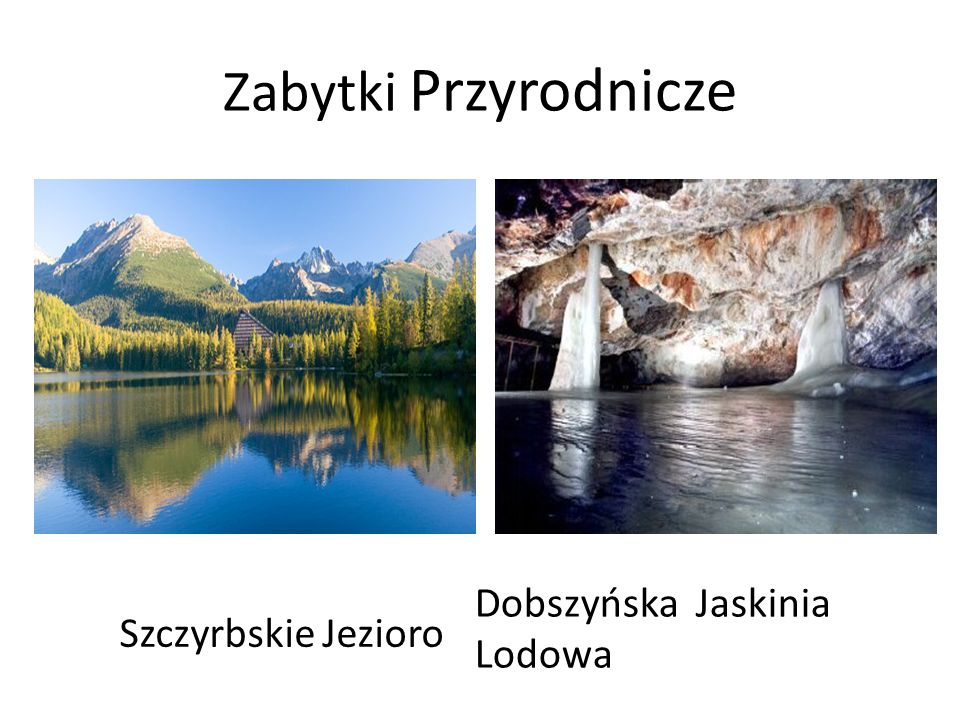 Zabytki Przyrodnicze Dobszyńska Jaskinia Lodowa Szczyrbskie Jezioro