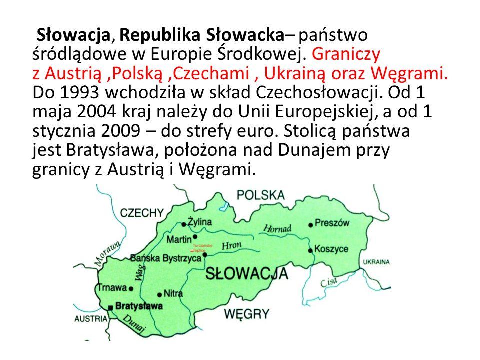 Słowacja, Republika Słowacka– państwo śródlądowe w Europie Środkowej