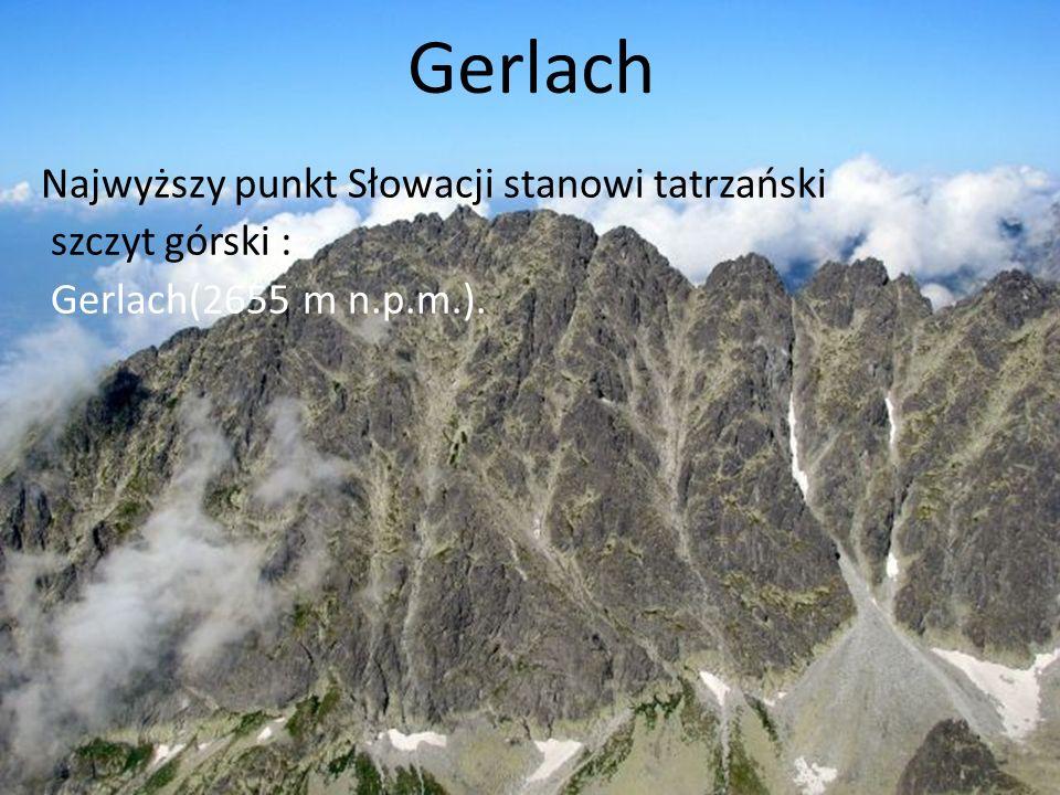 Gerlach Najwyższy punkt Słowacji stanowi tatrzański szczyt górski : Gerlach(2655 m n.p.m.).