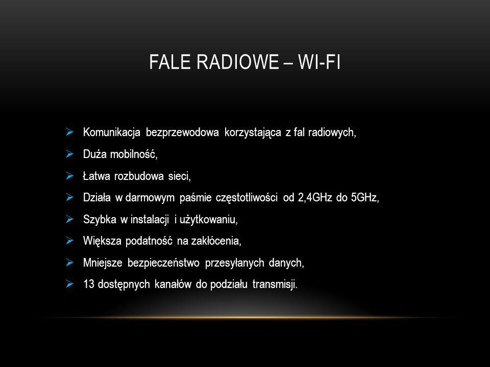 Fale radiowe – wi-fi Komunikacja bezprzewodowa korzystająca z fal radiowych, Duża mobilność, Łatwa rozbudowa sieci,