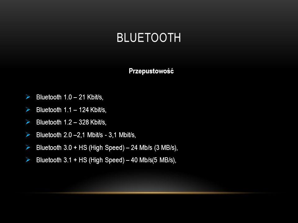 Bluetooth Przepustowość Bluetooth 1.0 – 21 Kbit/s,