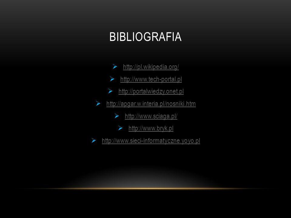 Bibliografia http://pl.wikipedia.org/ http://www.tech-portal.pl