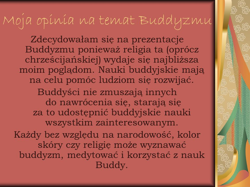 Moja opinia na temat Buddyzmu