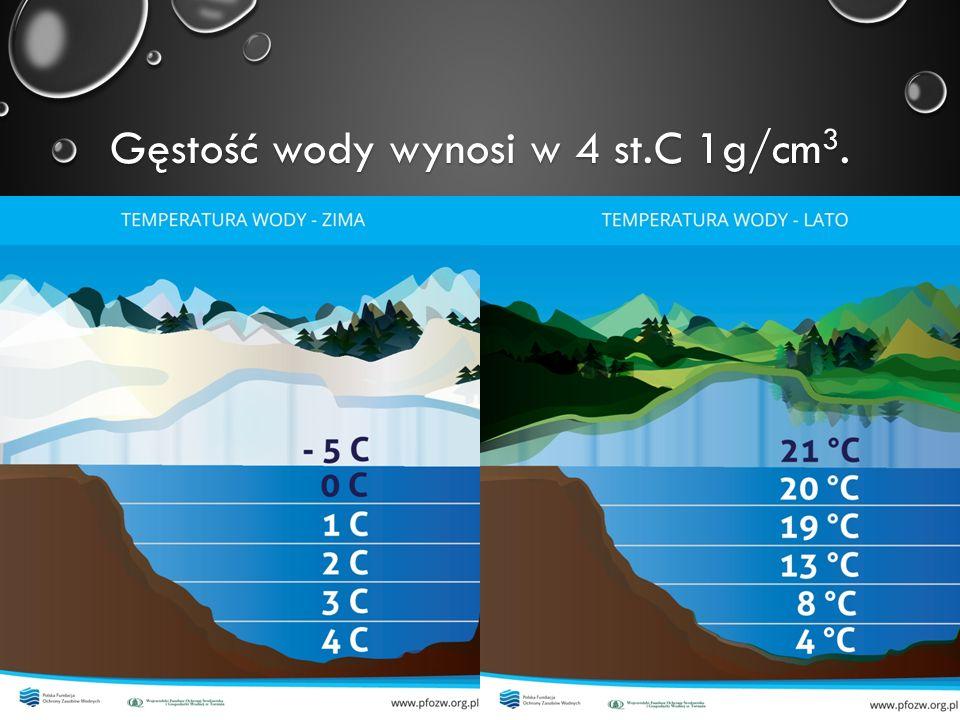 Gęstość wody wynosi w 4 st.C 1g/cm3.
