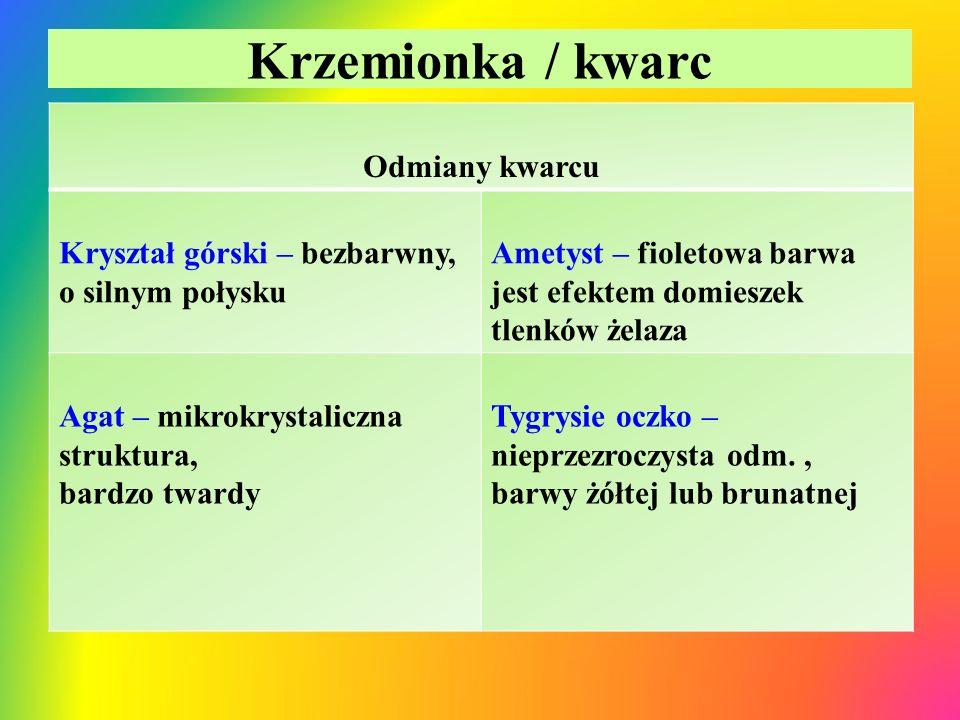 Krzemionka / kwarc Odmiany kwarcu