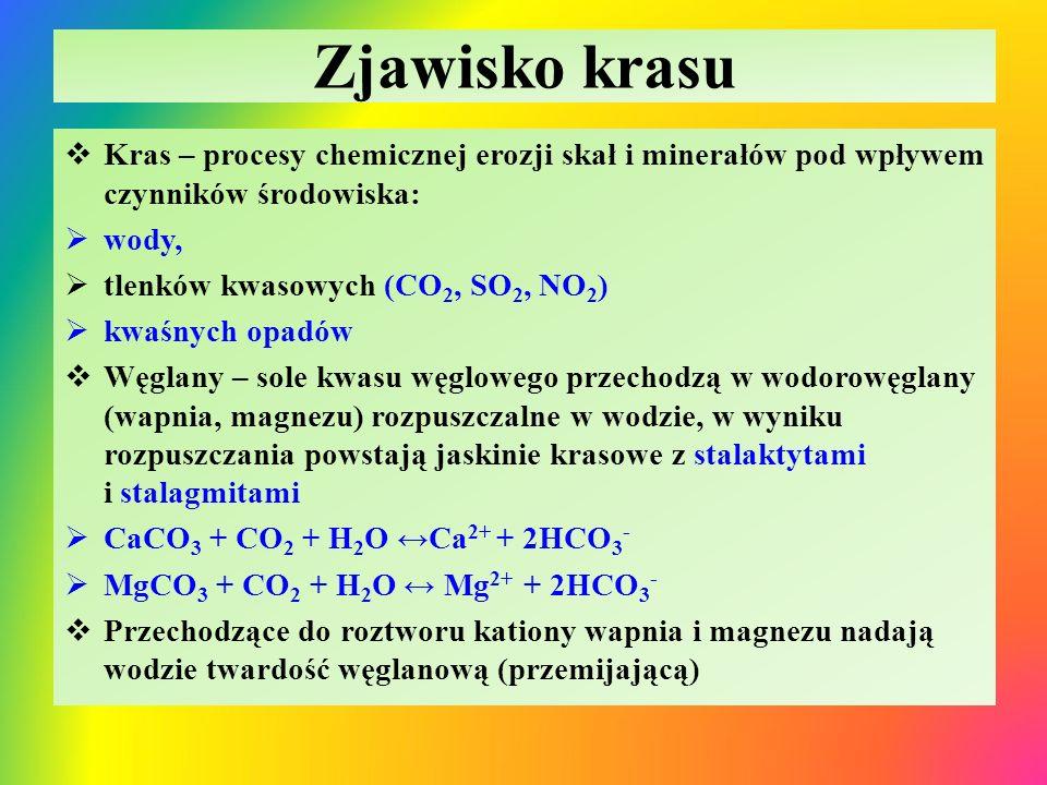 Zjawisko krasu Kras – procesy chemicznej erozji skał i minerałów pod wpływem czynników środowiska: wody,
