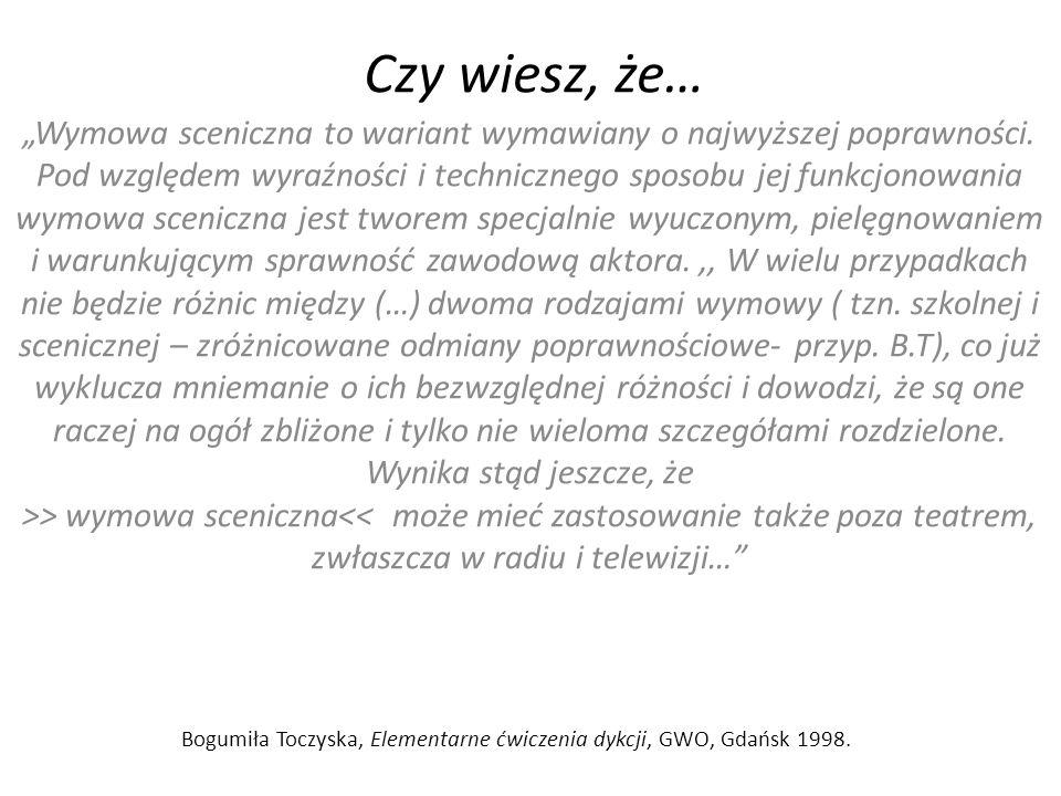 Bogumiła Toczyska, Elementarne ćwiczenia dykcji, GWO, Gdańsk 1998.