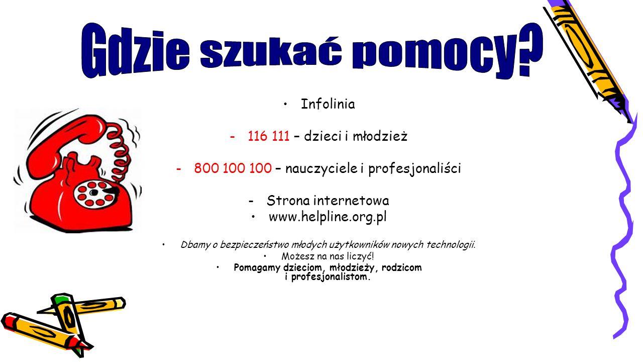 Gdzie szukać pomocy Infolinia 116 111 – dzieci i młodzież
