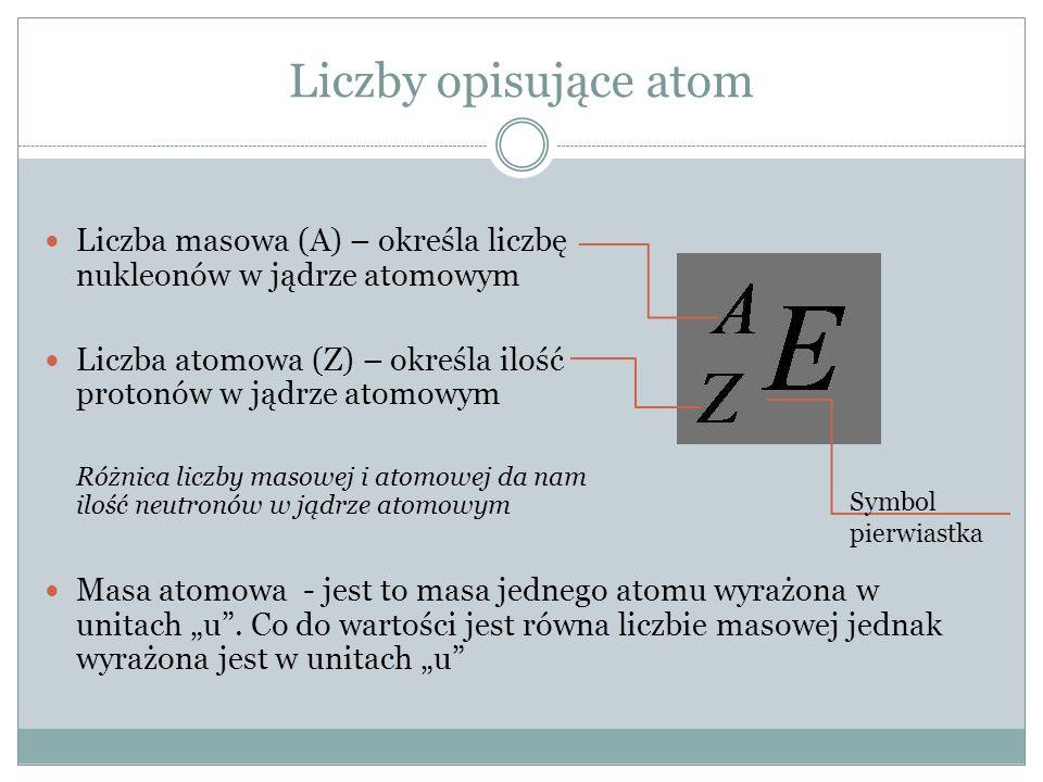 Liczby opisujące atom Liczba masowa (A) – określa liczbę nukleonów w jądrze atomowym.
