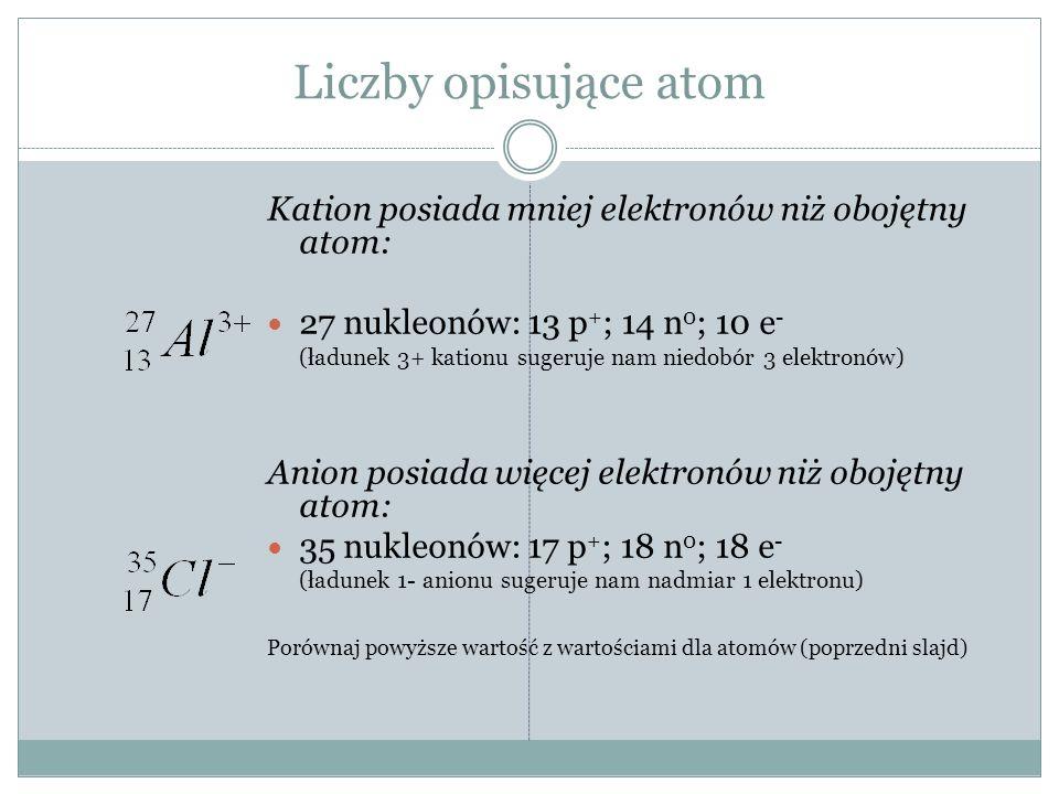 Liczby opisujące atom Kation posiada mniej elektronów niż obojętny atom: 27 nukleonów: 13 p+; 14 n0; 10 e-