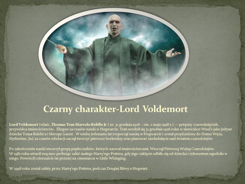 Czarny charakter-Lord Voldemort