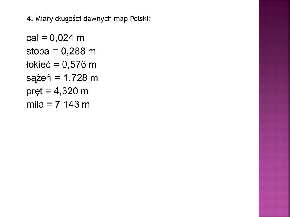 cal = 0,024 m stopa = 0,288 m łokieć = 0,576 m sążeń = 1.728 m