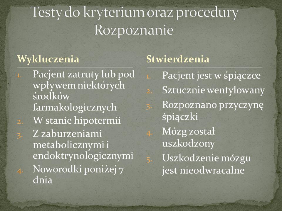 Testy do kryterium oraz procedury Rozpoznanie