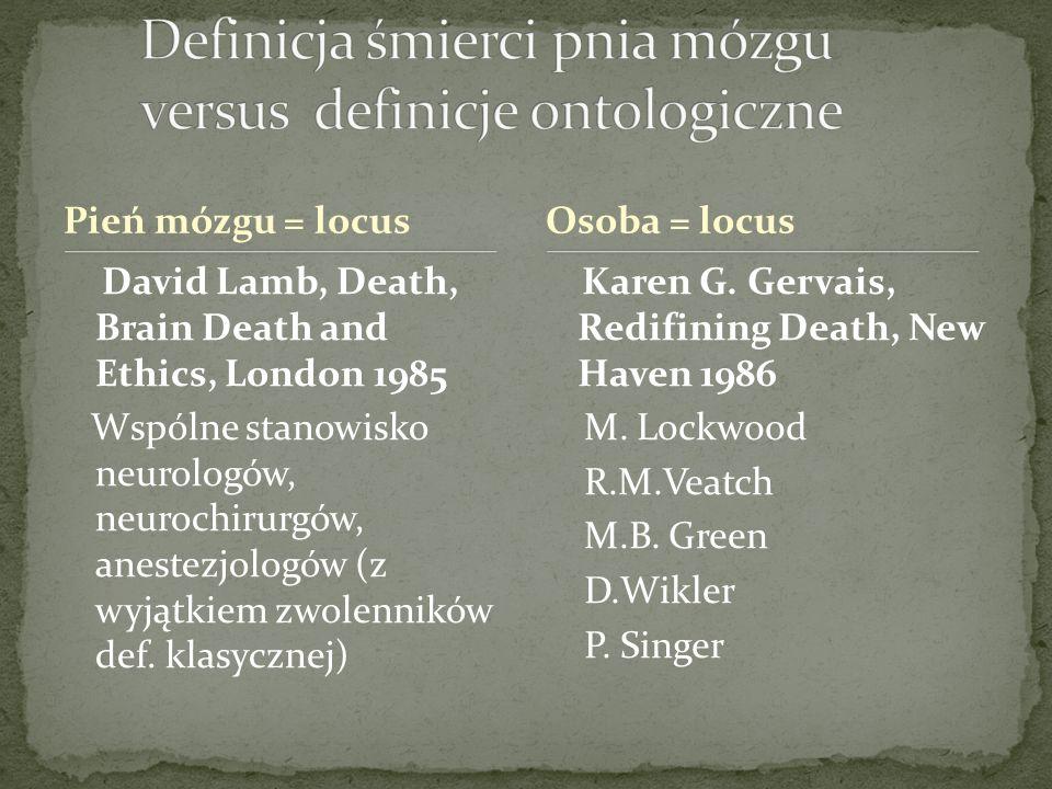 Definicja śmierci pnia mózgu versus definicje ontologiczne
