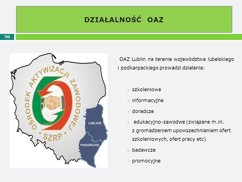 DZIAŁALNOŚĆ OAZ OAZ Lublin na terenie województwa lubelskiego i podkarpackiego prowadzi działania:
