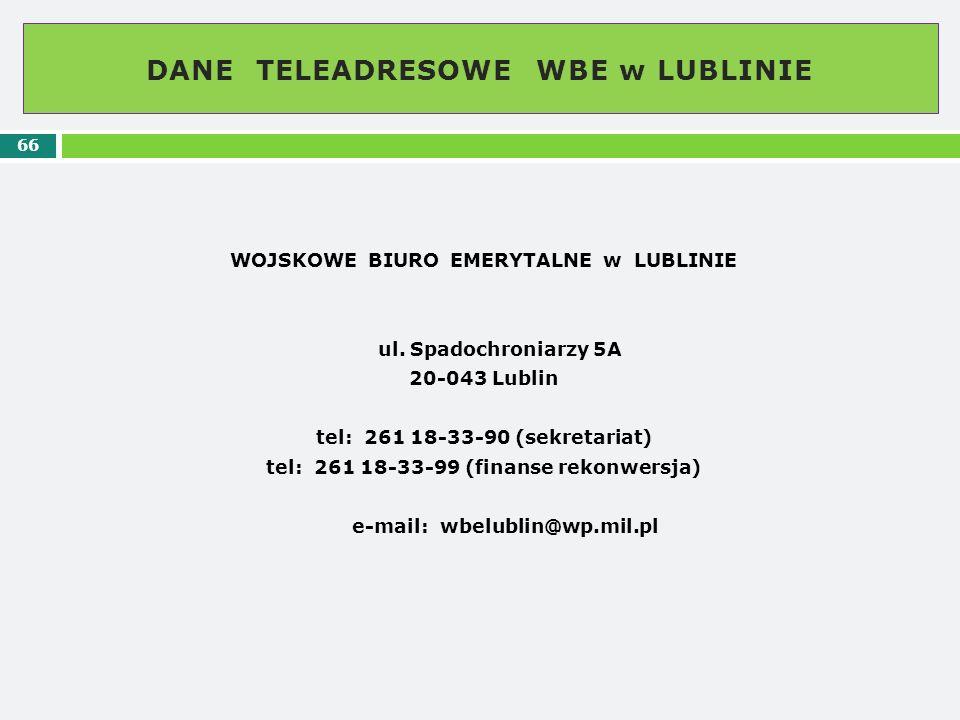 DANE TELEADRESOWE WBE w LUBLINIE