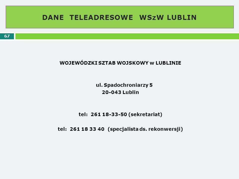 DANE TELEADRESOWE WSzW LUBLIN