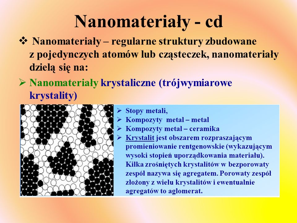 Nanomateriały - cd Nanomateriały – regularne struktury zbudowane z pojedynczych atomów lub cząsteczek, nanomateriały dzielą się na: